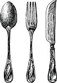 Vector drawing of the vintage cutlery.