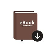 E-book icon with download arrow button. Online book digital library concept. Vector illustration.
