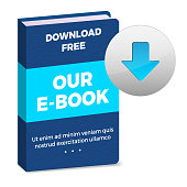 E-book icon with download button and sample text on white background - vector illustration