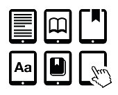 Electronic book black icons set isolated on white