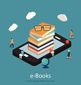 Books  in smart phone tablet,  micro people reading books,  vector illustration
