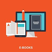Abstract vector illustration of e-books flat design concept.