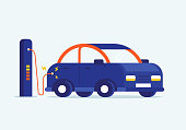 Vector flat design illustration of charging modern electro car at e-station. Interesting concept of nature saving and new technology advertisement.