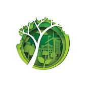 Eco and nature concept.Big tree,seedling and green city with environment conservation.Vector illustration