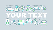 Eco car word concepts banner. Green vehicle. Electric car. Eco friendly transport