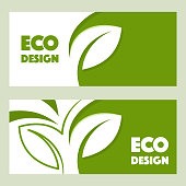 Eco design. Vector abstract design web banner template. 2 headers