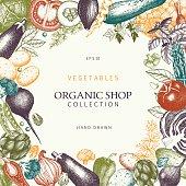Healthy Food frame. Vector vegetables illustration. Sketched menu design. Vintage background