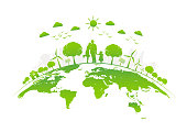 Eco friendly with green city on earth, World environment day and sustainable development concept, vector illustration