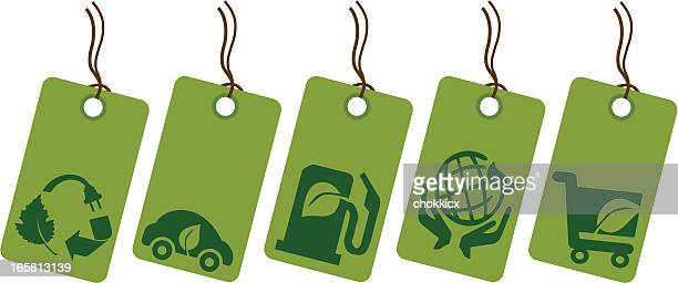 eco green and recycling symbol price tag