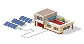 Eco house connected solar panels plant. House with alternative Eco Green Energy, 3d isometric infographic concept. Solar Panels set. Vector illustration.