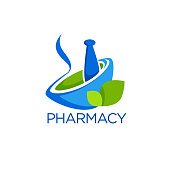 Eco Pharmacy, Glossy Shine Template with Images of  pounder and green Leaves