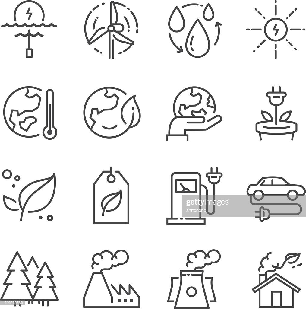Eco related line icons : Arte vectorial