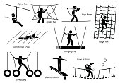 Artworks depict games at eco resort which includes flying fox, spider net, high ropes walk, cargo net climbing, crawl, hanging log, tire swing, balance beam, and rope bridges.