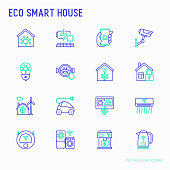Eco smart house thin line icons set: solar battery, security, light settings, appliances, artificial intelligence, mobile app control. Energy saving and new technologies vector illustration.