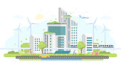 Eco-friendly housing complex - modern flat design style vector illustration on white background. Lovely cityscape with skyscrapers, windmills, solar panels, car, train, bins, people, airplane