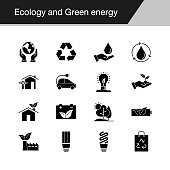 Ecology and Green energy icons. Design for presentation, graphic design, mobile application, web design, infographics. Vector illustration.
