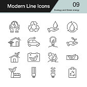 Ecology and Green energy icons. Modern line design set 9. For presentation, graphic design, mobile application, web design, infographics. Vector illustration.