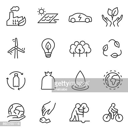 ecology icons set. linear design. Line with editable stroke : Vector Art