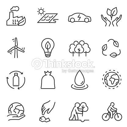 Ecología iconos conjunto. diseño lineal. Línea con el movimiento editable : arte vectorial