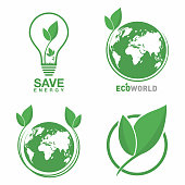 Ecology logo set. Eco world, green leaf, energy saving lamp symbol. Eco friendly concept for company logo. Vector