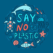 Say no to plastic. Ecology concept with lettering and different ocean animals. Vector hand drawn illustration for your design.