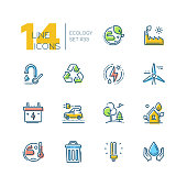 Ecology - set of line design style icons isolated on white background. High quality colorful pictograms. Recycle, saving natural resources, energy, water, light, electric car, windmill. Green planet