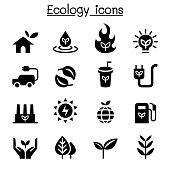 Ecology & Sustainable lifestyle icon set