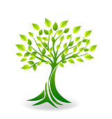 Ecology green tree icon vector symbol icon image template