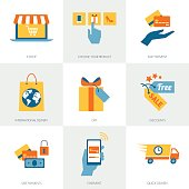 E-commerce, shopping and delivery concepts, business icons set