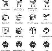 This set contains e-commerce icons that can be used for designing and developing websites, as well as printed materials and presentations.