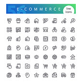 Set of 56 e-commerce line icons suitable for web, infographics and apps. Website online store. Isolated on white background. Clipping paths included.