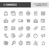 30 thin line icons associated with store and e-commerce with symbols such as store object, payment method and shipping are included in this set. 48x48 pixel perfect vector icon with editable stroke.