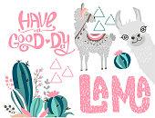 Editable image with a cute lama