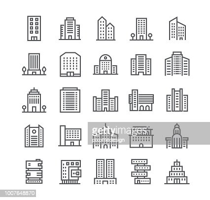 Editable simple line stroke vector icon set,government and commercial city buildings and institutions and more. 48x48 Pixel Perfect. : Vector Art
