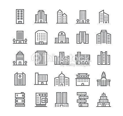 編集可能なシンプルなライン ストローク ベクトル アイコンを設定、政府と商業都市建物及び機関。48 × 48 ピクセル パーフェクトな。 : ベクトルアート