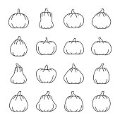 Halloween pumpkin with place for face thin line icon set. Vector linear symbol pack. Outline sign without fill. Editable stroke. Color book illustration. Simple pictogram graphic collection design