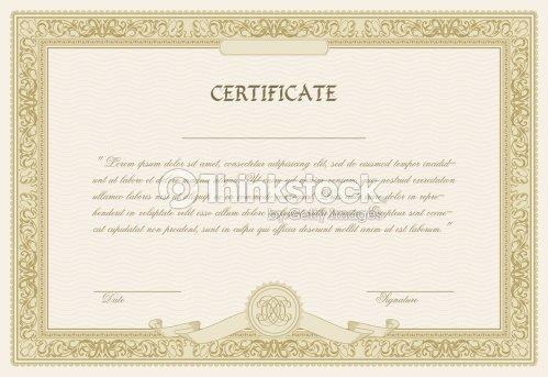 Editable Vector Certificate Template With Ornamental Border Vector