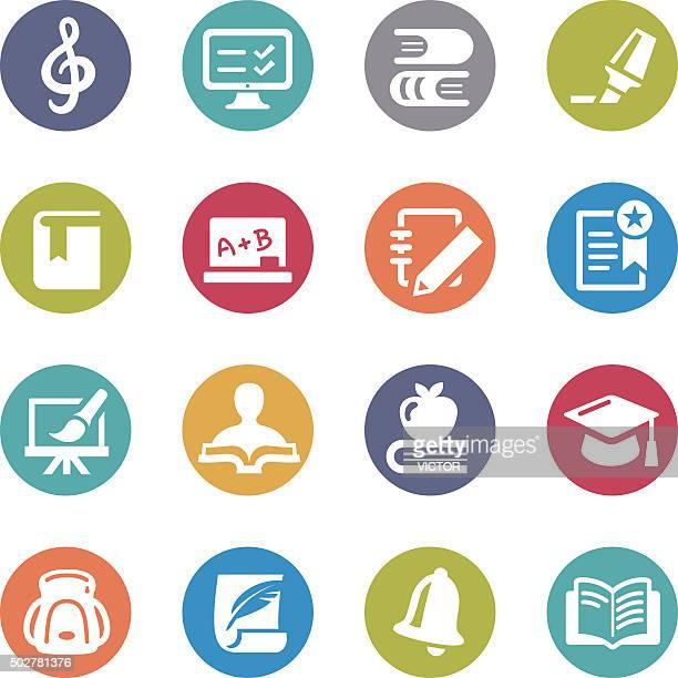 L'éducation et l'école icônes-cercle Series