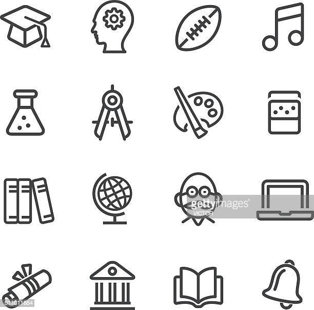 Escuela y educación iconos-línea serie