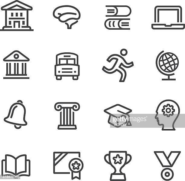 Conjunto de iconos de la escuela y educación-Serie línea