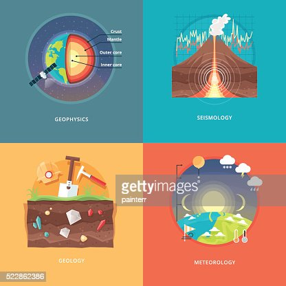 Education and science concept illustrations. Geophysics, seismology, geology, meteorology. : stock vector