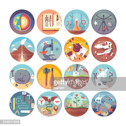 Education and science flat circle icons set. Vector icon collection. : stock vector