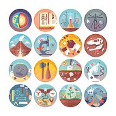 Education and science flat circle icons set.  Subjects and science disciplines. Vector icon collection.