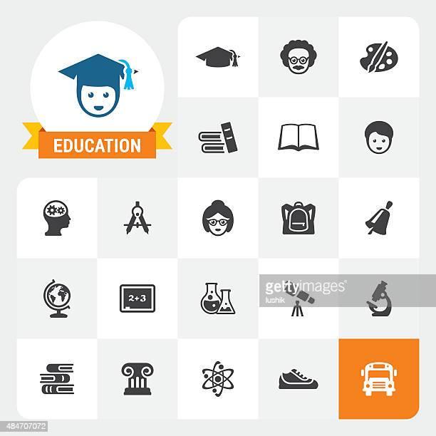 vector educación iconos y de la etiqueta de base