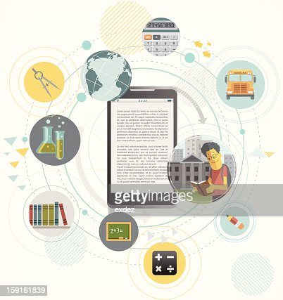 education concept design on smartphone : Vector Art