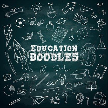Education Doodles Text School Stationary Doodles Bundle Pack on Blackboard : stock vector