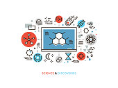 Thin line flat design of STEM academic disciplines, science education and knowledge about life evolution, chemistry research discovery. Modern vector illustration concept, isolated on white background