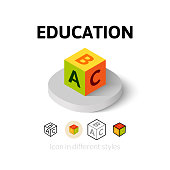 Education icon, vector symbol in flat, outline and isometric style