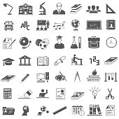 49 Education Icons on white background, vector EPS 10.