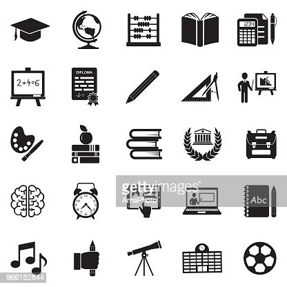 Education Icons. Black Flat Design. Vector Illustration. : Vector Art